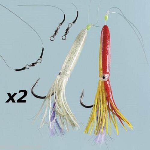 2 x 2 crochet octopus muppet rig 12//0 ling cod hailbut pêche mer bateau tackle