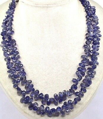 2 LINE 382 CTS NATURAL BLUE IOLITE BEADS FACETED TEAR DROPS LADIES NECKLACE