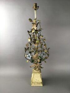 Vintage-Hollywood-Regency-Italian-Florentine-Large-Floral-Tole-Lamp
