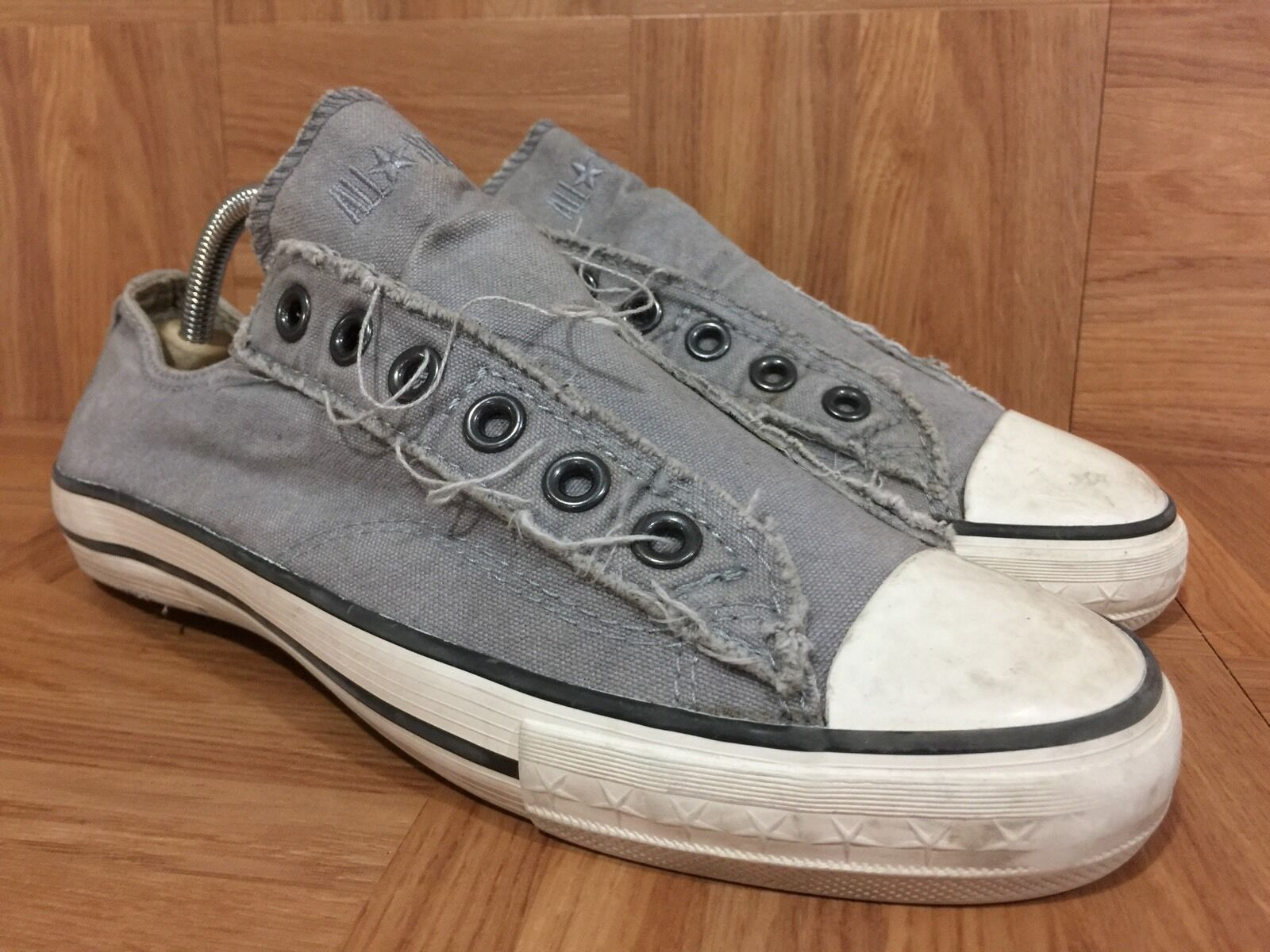 Vintage� Converse Washed John Varvatos Distressed Laceless Washed Converse Gray Slip On Sz 6 LE aab43a