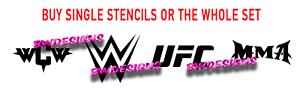 MMA UFC WCW Wrestling Fight fake tattoo stencils hard wearing mylar reusable
