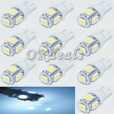 10 PCS  T10 Wedge 5-SMD 5050 360° Wedge LED W5W 2825 158 192 168 194 Light bulbs