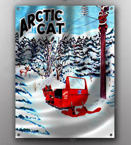 VINTAGE ARCTIC CAT 1974 /'THE ONE/' SNOWMOBILE BANNER