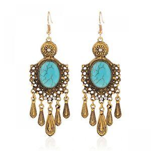 Turquoise-Earrings-Gypsy-Bohemian-Boho-Tassel-Dangle-Bead-Handmade-Blue-Beads