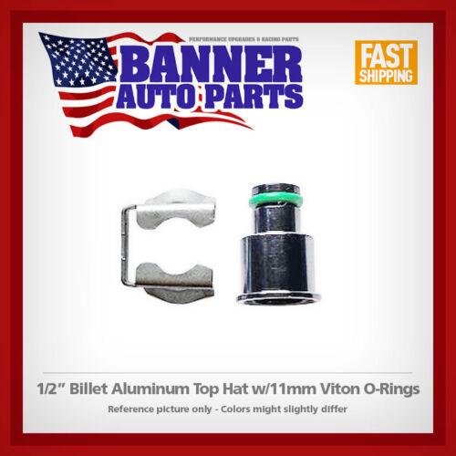 "Fuel Injector Billet Aluminum 1//2/"" Top Hat Adapter w// 11mm O-Ring /& Clip USA"