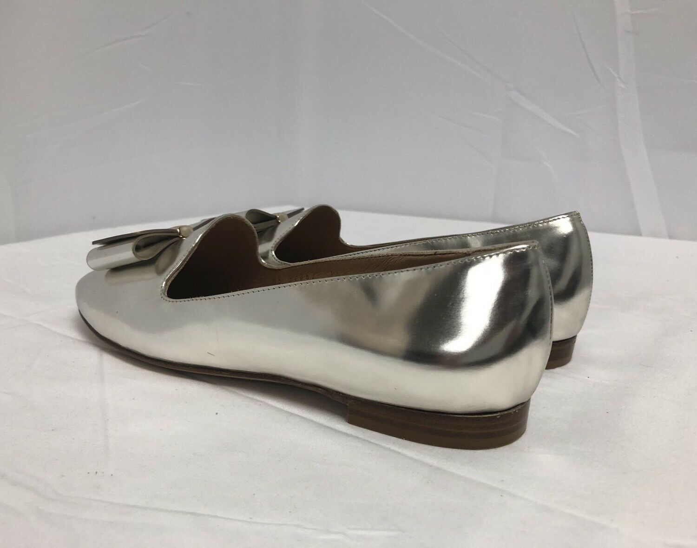 NIB NIB NIB Salvatore Ferragamo Elisabella Metallic Silver Bow Loafer Flats 35 5  525.00 14cf19