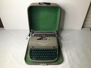 Vintage REMINGTON QUIET-RITER Typewriter w/ Hard Case green keys