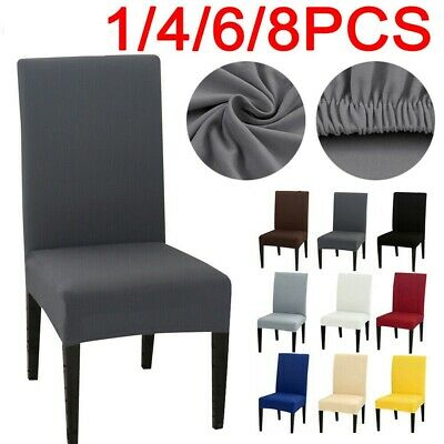 4//6PCS Dining Chair Seat Covers Slip Stretch Wedding  Banquet Party Removable UK