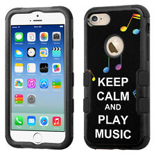 Hybrid Tough Phone Case (Blk/Black) for Apple iPhone 7 - Keep Clam Music