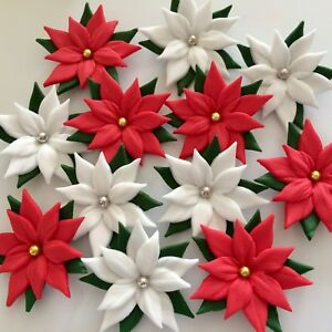 Details About Poinsettias Edible Sugar Paste Flowers Christmas Cake Decorations Toppers
