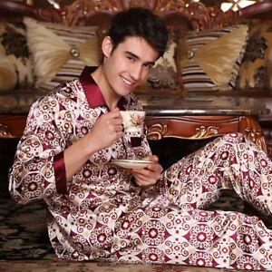 866a38e318 Details about NWT 2PCS Mens Silk Satin Pajamas Sleepwear Pyjamas PJS Long  Sleeve M029 M L XL
