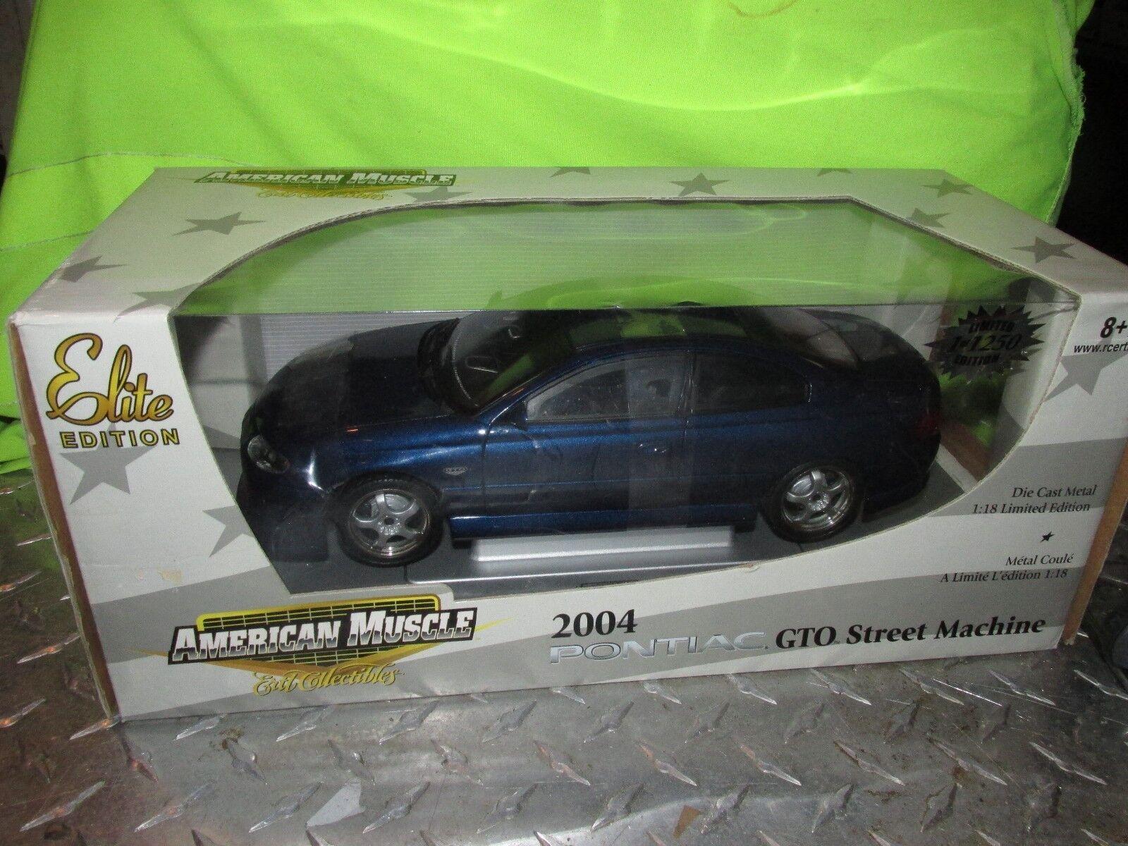 2004 Pontiac Gto 1 18 American Muscle Limited 1 de 1250 máquina de Calle blu Oscuro
