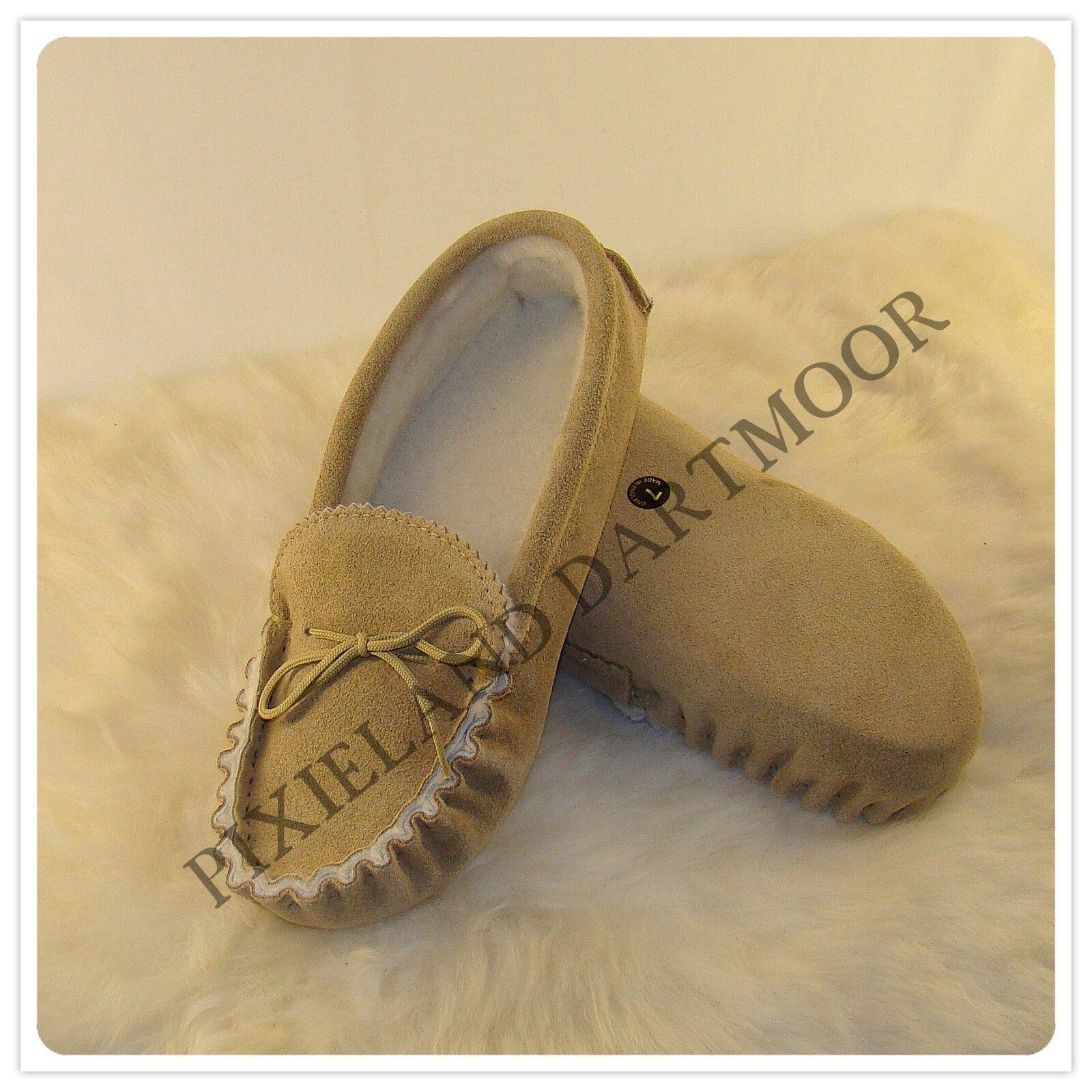Luxury completo de piel de oveja Mocasines con suela de gamuza-hecho a mano en el Reino Unido
