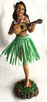 Dashboard Hula Girl Doll Playing Ukulele Green Skirt Hawaiian Hawaii Island NIB