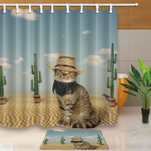 Image Is Loading Funny Cat And Cactus Shower Curtain Set 71