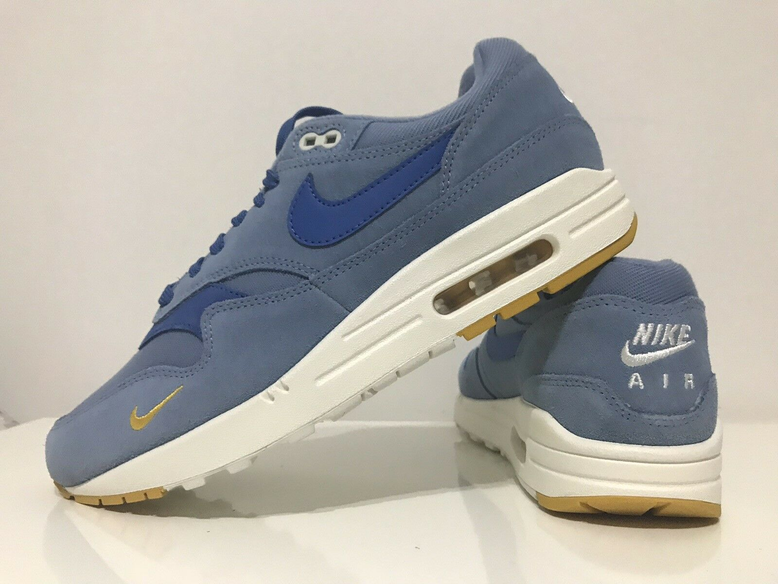 Nike Air Max 1 Premium Mini Swoosh - Blau   Gelb - UK 7,5 Limited Edition