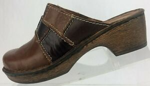 Josef-Seibel-Mules-Patch-Work-Comfort-Brown-Slide-Heel-Clogs-Womens-37-US-6-6-5