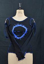BLACK & BLUE MUMMIFICATO Head Strap Top Goth Punk spettrale S Cyber Voodoo