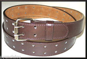 Men-039-s-Women-039-s-Unisex-2-Hole-Grommets-Leather-Belts-Double-Prong-Roller-Buckle