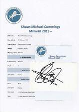 SHAUN CUMMINGS MILLWALL 2015-PRESENT DAY ORIGINAL HAND SIGNED CUTTING