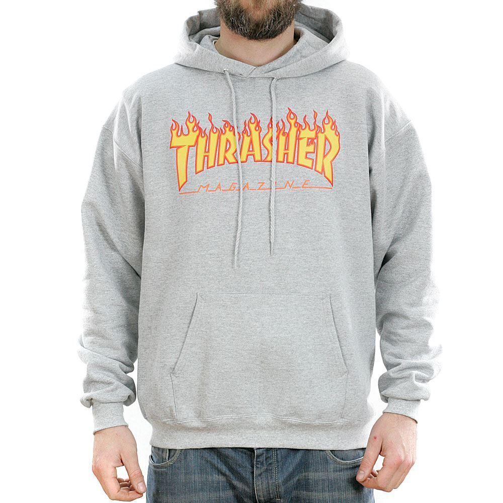 Thrasher Magazine Grau Flame Logo Hooded Sweatshirt Hoodie New Free Delivery