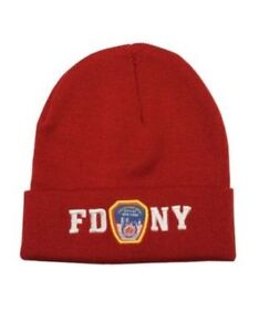 70066d198a3 FDNY Winter Hat Police Badge Fire Department NYC Red   White One ...