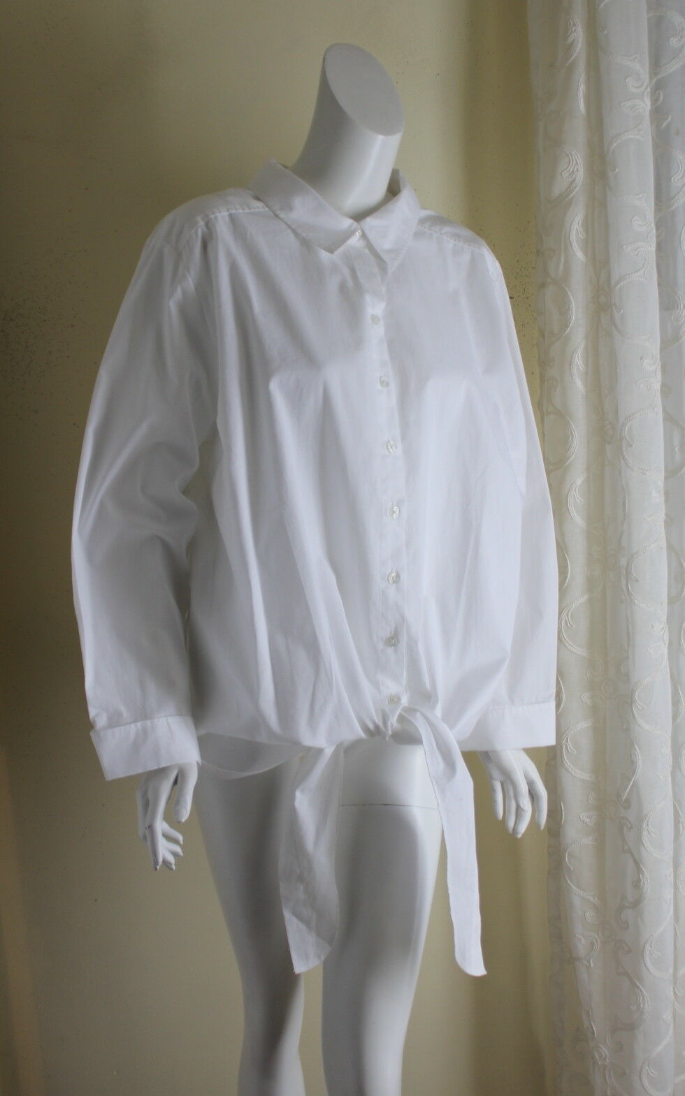 Roman's -S 26W 3X -The Perfect - Weiß Cotton French Tie Dress Shirt Tunic Top