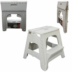 Image Is Loading PLASTIC 2 STEP FOLDING STEP STOOL TALL HOME