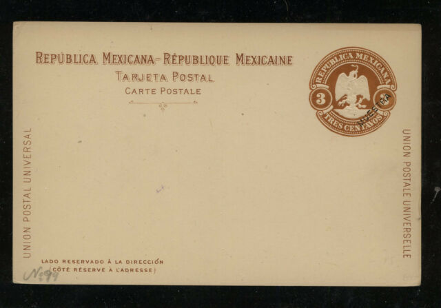 Mexico  postal  card 3 cent brown   specimen  unused           PS0602