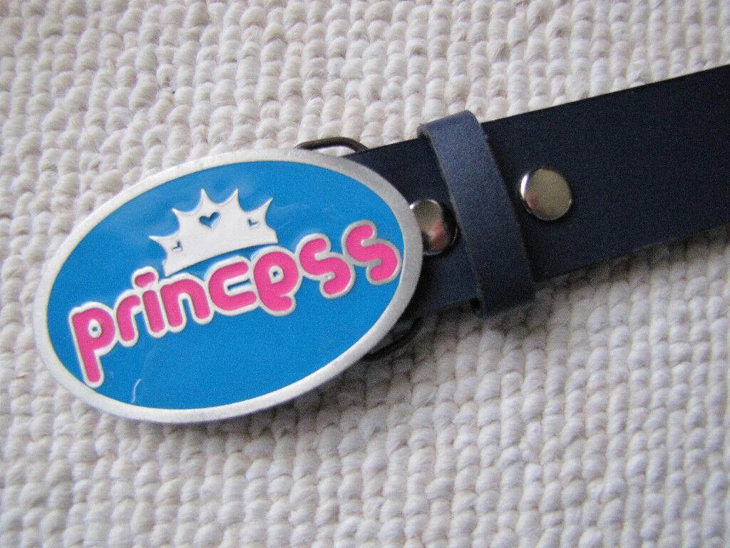 PRINCESS Buckle & Black Bonded Leather Belt - NEW