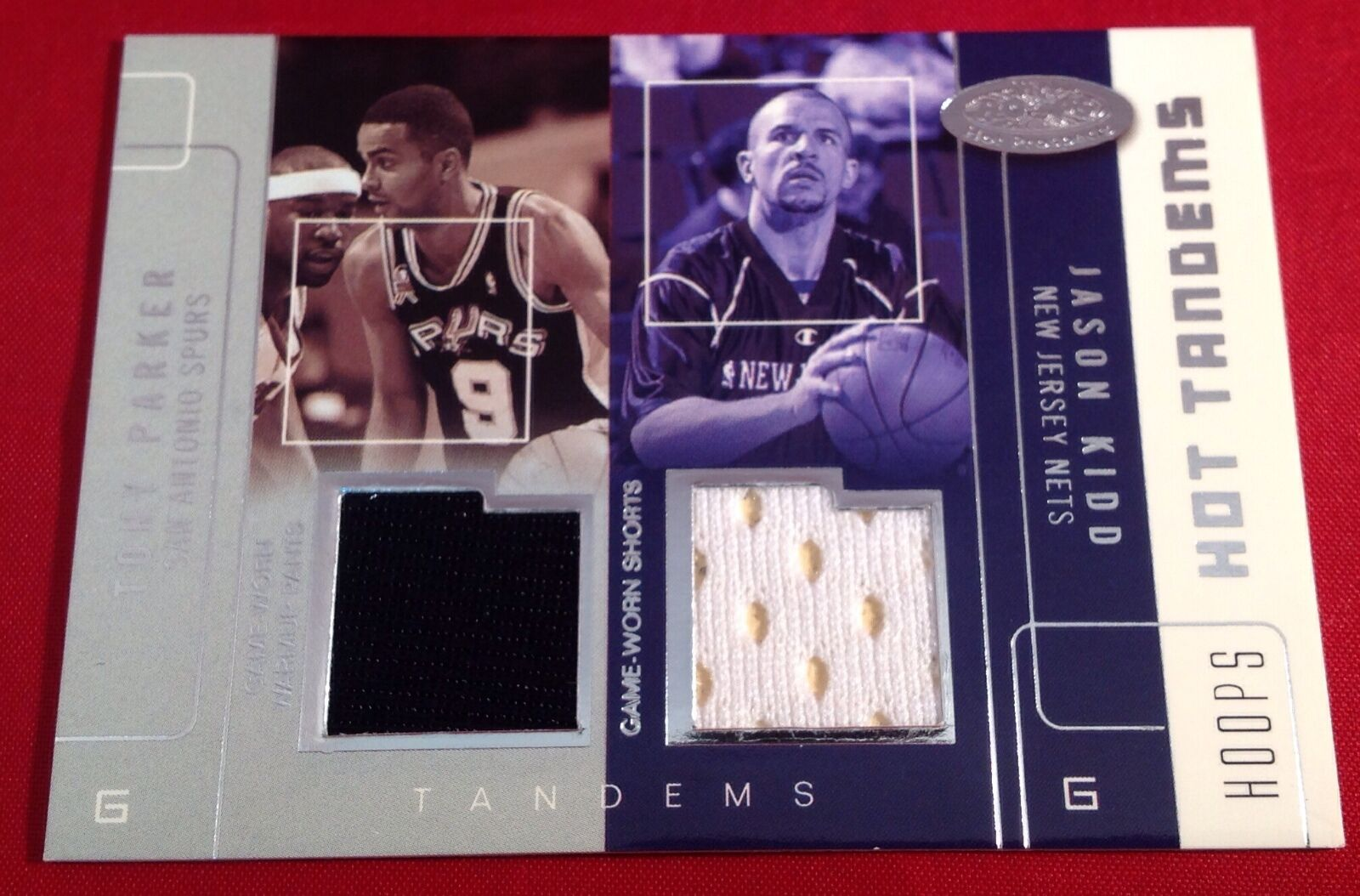 Tony Parker & Jason Kidd 2002-03 Fleer Hot Tandems Game Worn Jersey Card #66/100