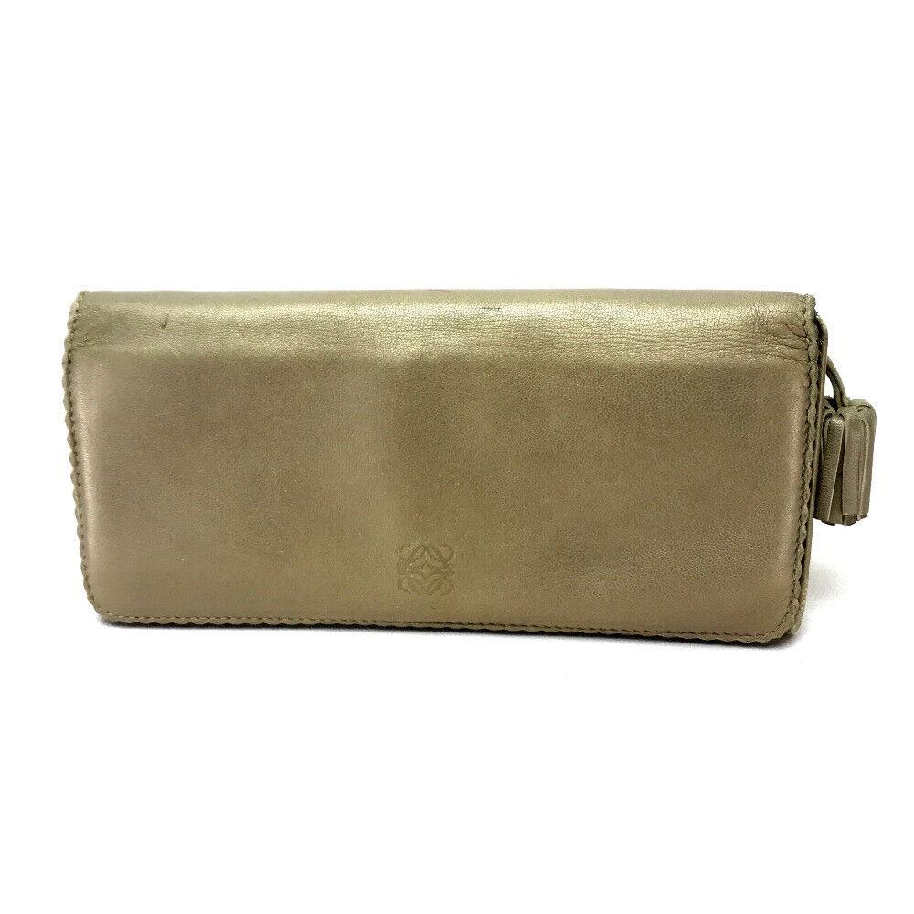 LOEWE Leather Bifold Long Wallet Gold