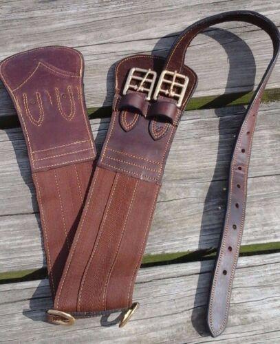 "34/"" brown nylon double brass buckle Australian girth w//leather ends Tough 1"