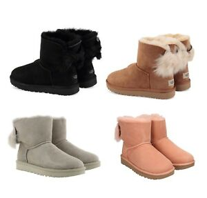 NEW-Authentic-UGG-Women-039-s-Mini-Fluff-Bow-Winter-Boots-Shoes-Black-Chestnut