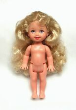 Barbie Sister Kelly Doll Long Curly Blonde Hair Lavender Eyes  Nude Mattel New