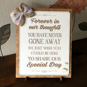 Details about In Loving Memory Wedding Memorial Plaque Sign Personalised  Wedding Sign Memorial