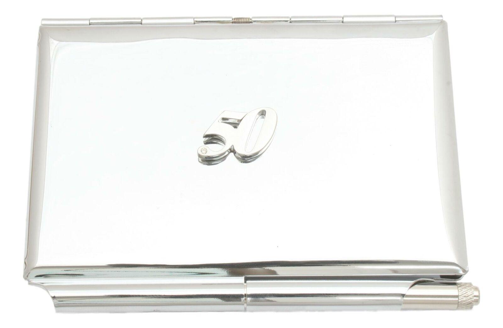 50th Birthday Metal Notepad Memo Card Holder & Pen FREE ENGRAVING 464