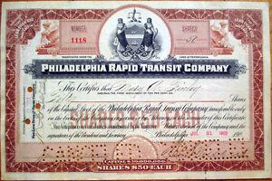 1902-Railroad-Trolley-Stock-Certificate-039-Philadelphia-Rapid-Transit-Company-039-PA