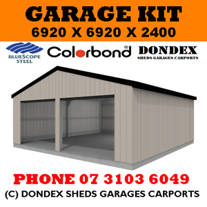 DONDEX SHEDS Double Garage Shed Kit 7x7x2.4 Colorbond Roof Walls ...