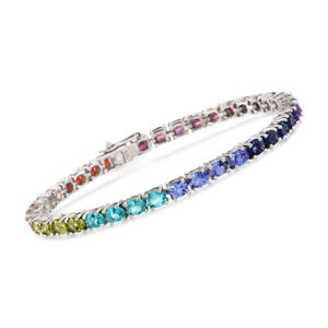 Multi-Color-Sapphire-Tennis-Bracelet-Rainbow-Natural-Sterling-Silver-White-Gold