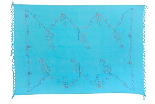 Sarong Strandtuch Pareo Hell Blau Einfarbig mit Bunter Stickerei