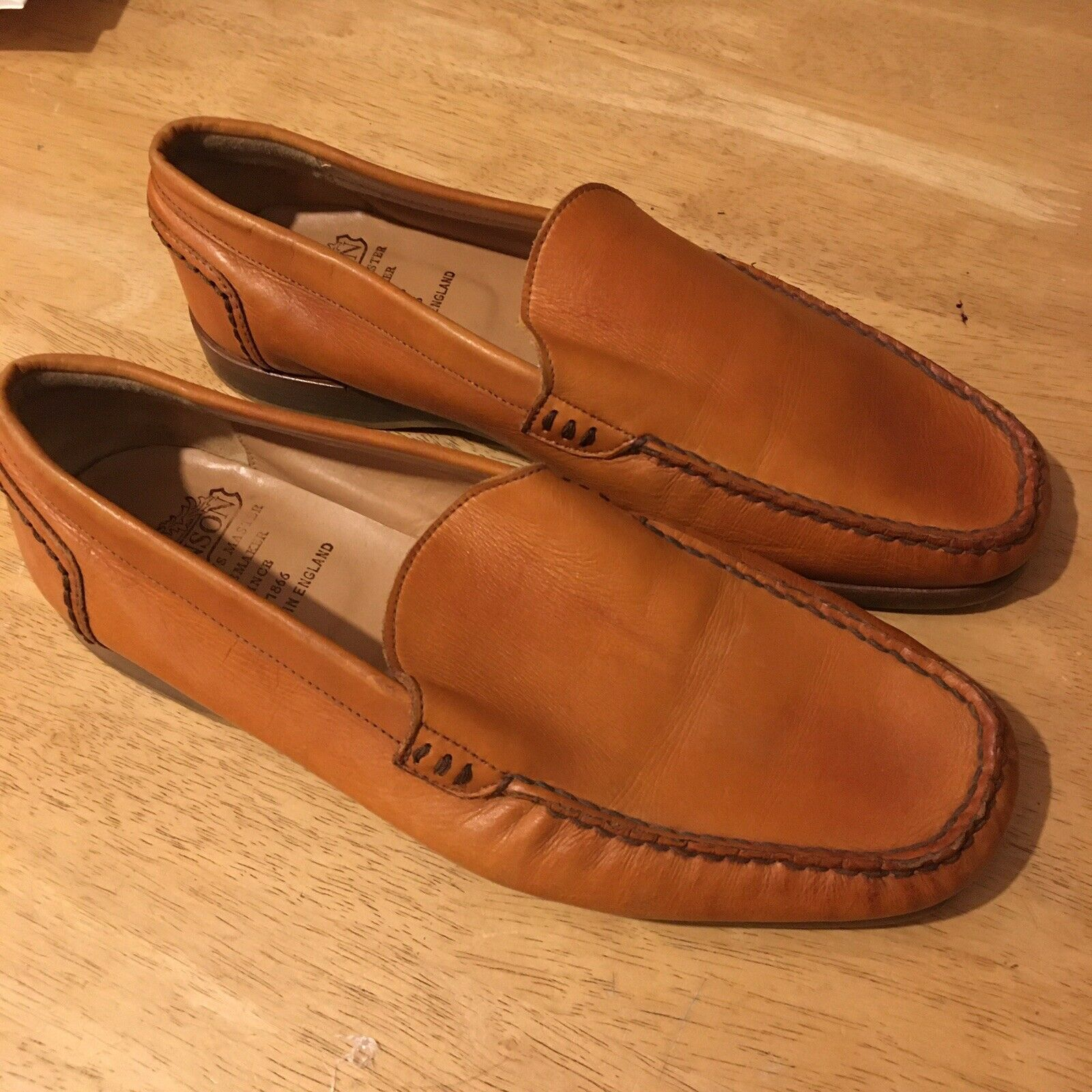 Grenson Mens Loafer Leather Tan schuhe Uk 7 ( F) Standard Fit - Made In England