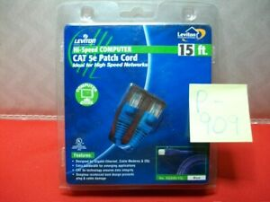 1-BRAND NEW LEVITON 15' HI-SPEED COMPUTER CAT 5e PATCH CORD 350MHz 1000Mbps NISP