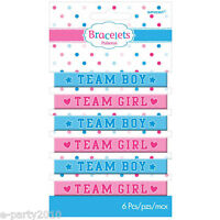 Baby Shower Girl Or Boy Rubber Bracelets (6) Gender Reveal Party Supplies Pink