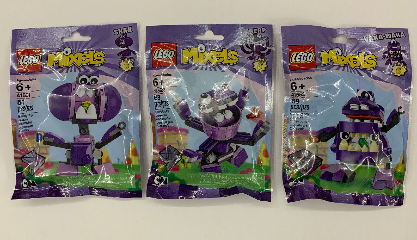 Retirot LEGO Mixels Series 6 41551 Snax 41552 Berp 41553 Vaka-Waka New SEALED