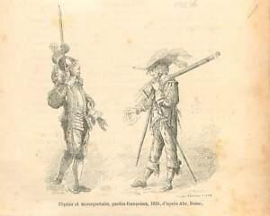 Piquier mousquetaire gardes française 1635 dessin de Abraham Bosse GRAVURE 1895 - France - Piker musketeer French guards in 1635 drawing of Abraham Bosse ANTIQUE PRINTGRAVURE 100 % DÉPOQUE 1895 PORT GRATUIT EUROPE A PARTIR DE 4 OBJETS BUY 4 ITEMS AND EUROPE SHIPPING IS FREE Il s'agit d'un fragment de page originale avec texte au dos q - France