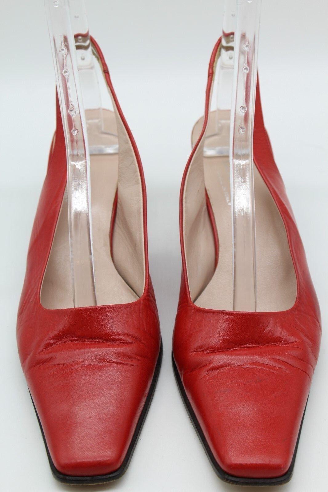 Escada Red Leather Square Toe Slingbacks Size 8.5B