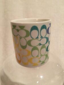 COACH Lyrica Rainbow Coffee Glass Cup Mug Original Brand Purse RARE HTF