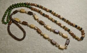 VINTAGE-TO-NOW-SEED-WOOD-amp-SHELL-LONG-BEADED-BOHO-NECKLACE-LOT