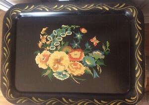 """Vintage  Black Toleware Tray Floral Design Painted Large Tray 13"""" x 17 1/2"""""""